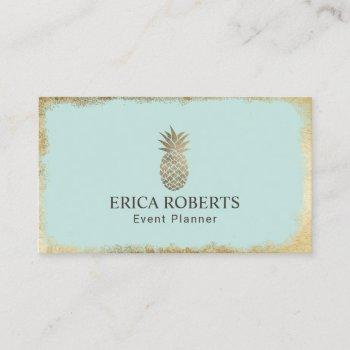 tropical pineapple mint & gold event planning business card