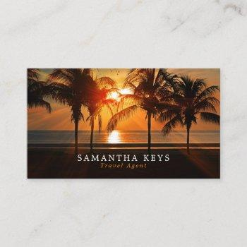 tropical sunset vacation, travel agent business card