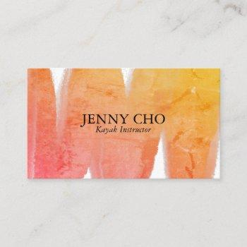 tropical texture inky paint stripe business card