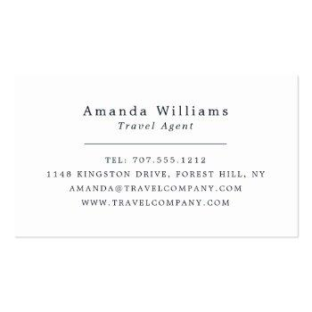 Small Tropical Vacation, Travel Agent Business Card Back View