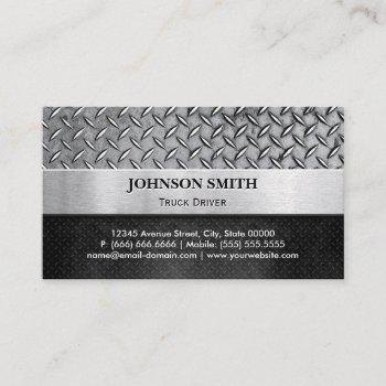 truck driver - diamond metal plate business card