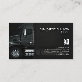 trucker transportation haulage black truck front business card