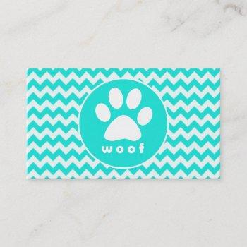 turquoise, aqua color chevron; paw print business card