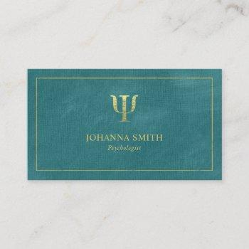 turquoise canvas golden frame, psychologist symbol appointment card