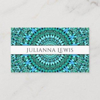 turquoise flower mandala business card