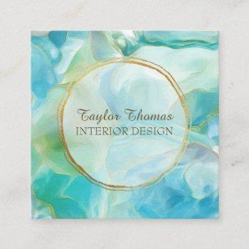 turquoise gemstone geode watercolor | gold circle square business card