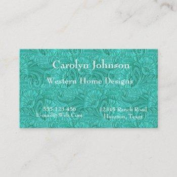 turquoise leather print western business card