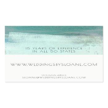 Small Turquoise Watercolor Wash Business Card Back View