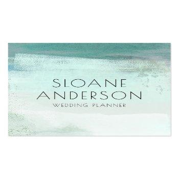 Small Turquoise Watercolor Wash Business Card Front View