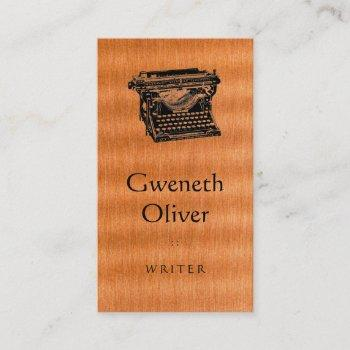 type writing machine on copper texture business card