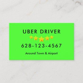uber driver business card easy see neon