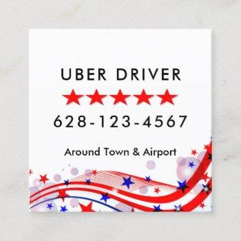 uber driver business card red white & blue square