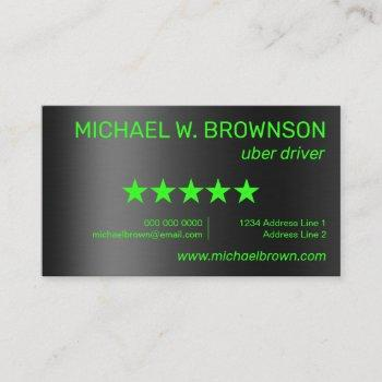 uber driver rate five stars business card