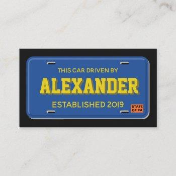 uber lyft driver blue and gold license plate business card