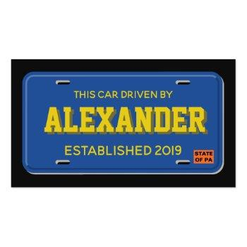 Small Uber Lyft Driver Blue And Gold License Plate Business Card Front View