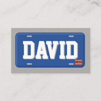 uber lyft driver blue and gray license plate business card