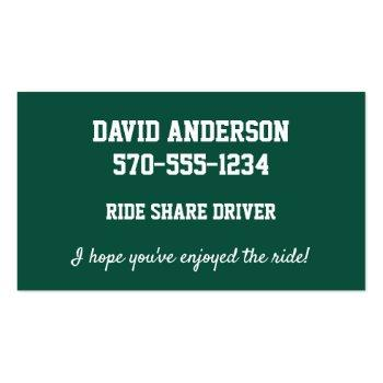 Small Uber Lyft Driver Green And White License Plate Business Card Back View