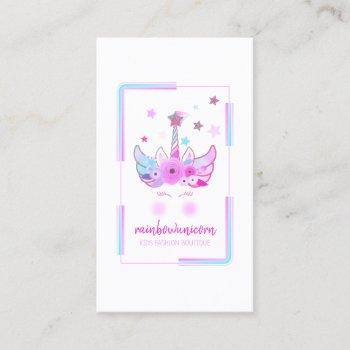 unicorn face with glitter stars business card