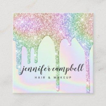 unicorn holographic glitter drips chic makeup hair square business card