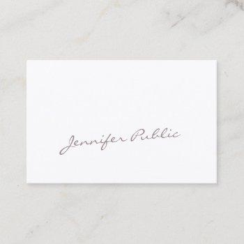 unique handwritten calligraphy script luxury chic business card