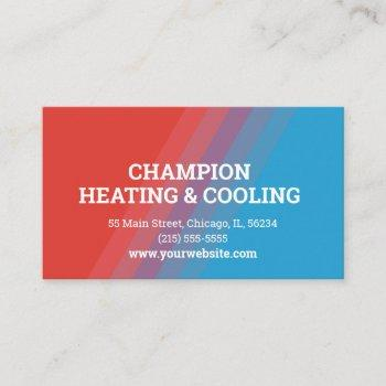 unique hvac red and blue business card