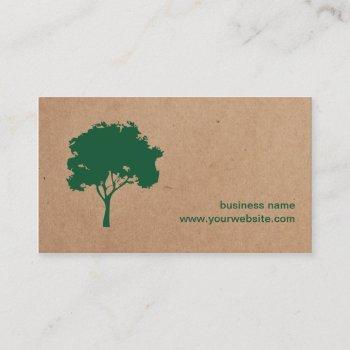 unique minimalist green tree cardboard landscaping business card