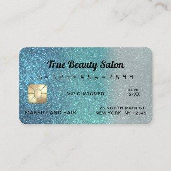 unique sparkly cerulean blue glitter credit card