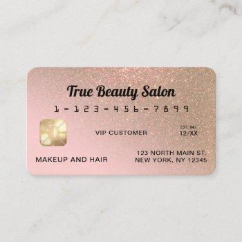 unique sparkly gold pink glitter credit card