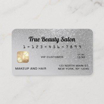 unique sparkly gray silver glitter credit card
