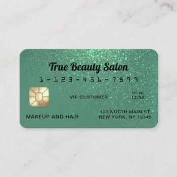 unique sparkly mermaid teal glitter credit card
