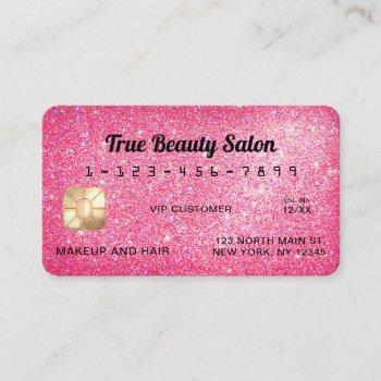 unique sparkly neon pink glitter credit card