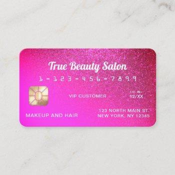unique sparkly neon punk pink glitter credit card