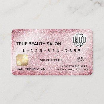 unique sparkly pink glitter credit card logo