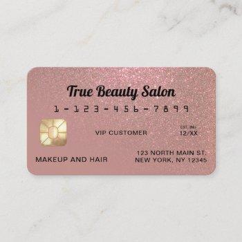 unique sparkly rose gold glitter credit card
