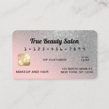 unique sparkly silver pink glitter credit card