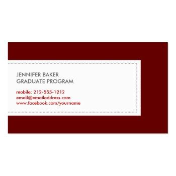 Small University/college Student Deep Red Calling Card Back View