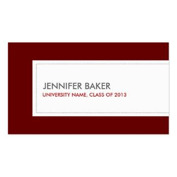 Small University/college Student Deep Red Calling Card Front View