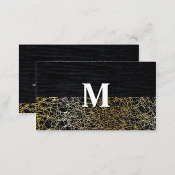 velvet and gold abstract   monogram business card