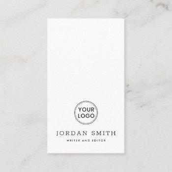 vertical custom logo modern minimal professional business card