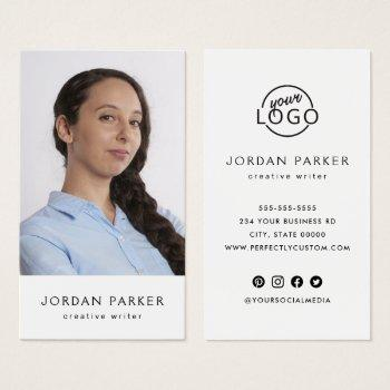 vertical custom photo and logo business cards