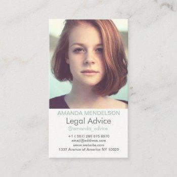 vertical photo white business card