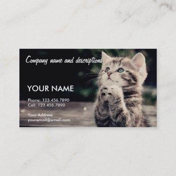 very cute praying cat business card