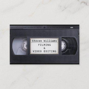 vhs cassette retro style faux look business card