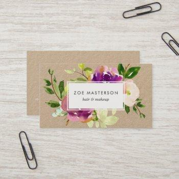 vibrant bloom floral kraft business card