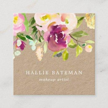 vibrant bloom | rustic watercolor floral kraft square business card