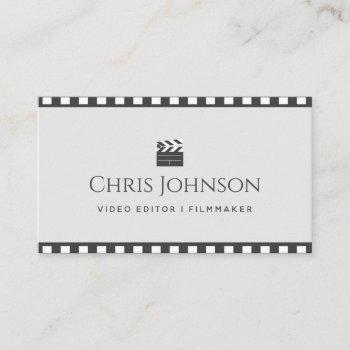 video editor filmmaker pastel & brown movie tape business card