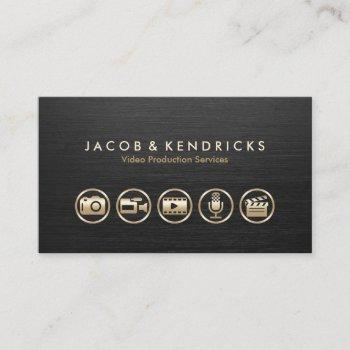 video production services gold icons black metal business card