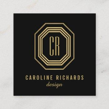vintage art deco monogram gold/black square business card