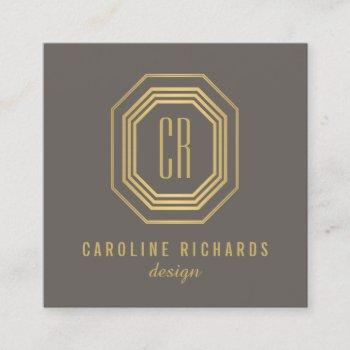 vintage art deco monogram gold/gray square business card
