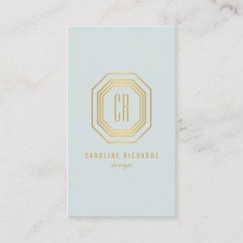 vintage art deco monogram gold/mint vertical business card